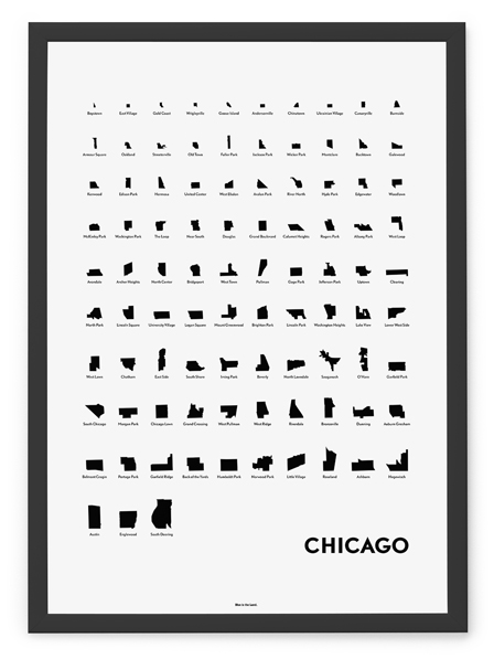 image regarding Eye Chart Printable titled Neighborhoods of Chicago Eye Chart Print Blue is the Land